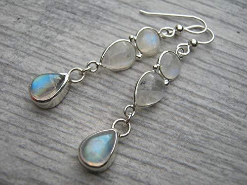 AAA Rainbow Moonstone Earrings.925 Sterling Silver, Faceted Gemstone Drop Earrings, Chatoyant Crystal