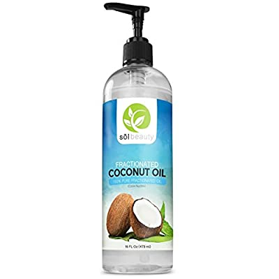 Sol Beauty Fractionated Coconut Oil 16oz- Cold Pressed Pure Natural Extra Virgin Oil - Premium Therapeutic Essential Carrier Pulling Oil For Hair, Skin, Aromatherapy, Massage, Relaxation, Moisturizing