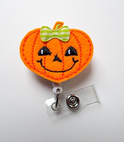 Pumpkin Heart - Teacher Badge Holder - Nurses Badge Holder - Felt Badge - Nursing Badge Holder - Teacher Badge Reel - RN Badge Reel - Halloween Badge - Holiday Badge Reel - Halloween Badges