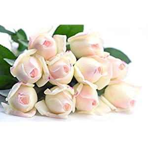 FiveSeasonStuff 10 Stems of Real Touch Silk Roses 'Petals Feel and Look like Fresh Roses' Artificial Flower Bouquet for Wedding Bridal Office Party Home Decor 9