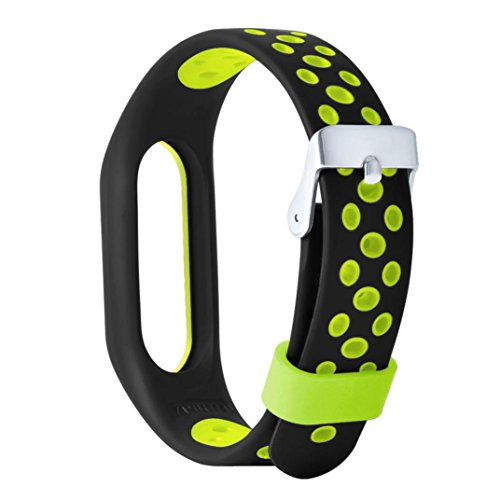 Xiaomi Mi Band 2, Unpara New WaterProof Lightweight Ventilate TPE Wrist Strap Wristband Bracelet For Xiaomi Mi Band Version 2.0 Fitness Tracker With Sweat Grooves, Perfect For Sports Wear (Green)