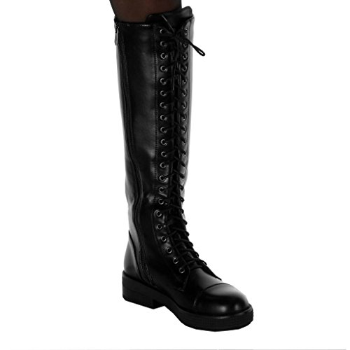 Haut Cavalier Femme Chaussure CM Mode Lacets Angkorly Botte Rangers Motard Bloc 4 Talon TZzqXSwX