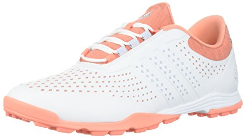 adidas Women's Adipure Sport Golf Shoe, White/Aero Blue/Chalk Coral, 8.5 Medium US