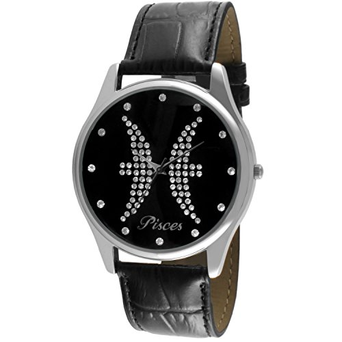 Crystal Studded Face Zodiac Horoscope Black Leather Silver Watch - Pisces