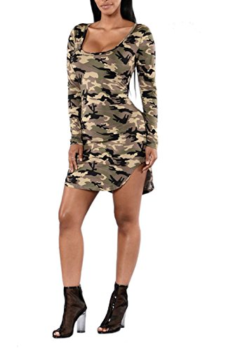 Women Sexy Long Sleeve Crewneck Camouflage Split T Shirt Top Mini Dress (Sexy Camo Outfits)