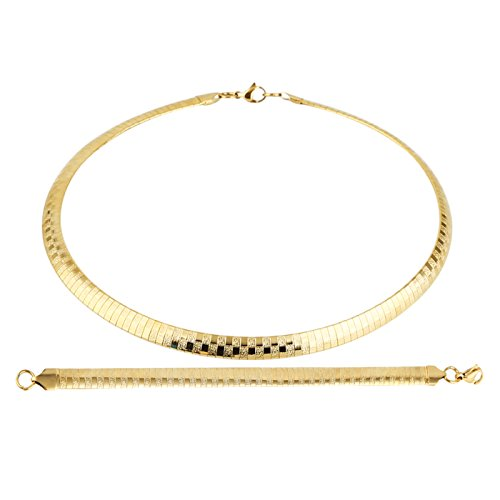 HZMAN Stainless Steel Omega Chain 8mm Solid 18 inch Necklace and 8.5 inch Bracelet Ste (Gold) ()