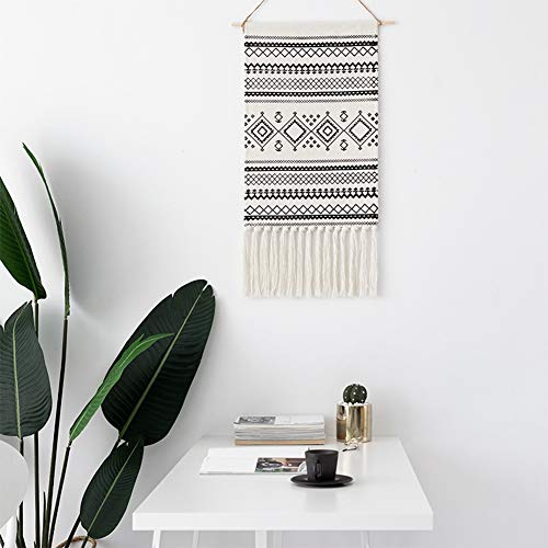 "Dream Allison Macrame Woven Wall Hanging Tapestry- Boho Chic Bohemian Home Geometric Art Decor - Beautiful Apartment Dorm Room Door Decoration, 19.7"" W x 32"" L (Black-2)"