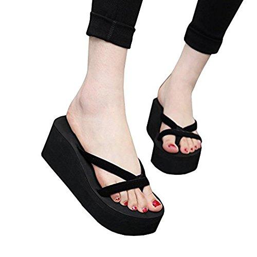 Syktkmx Womens Thong Wedge Platform Low Heel Summer Beach Flip Flops Sandals (9.5B(M) US, 1-Black)