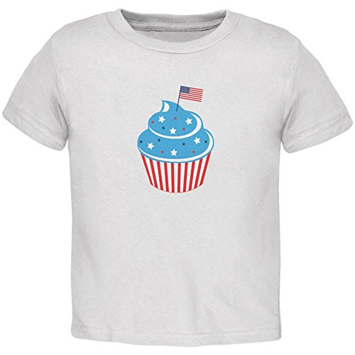 - Old Glory 4th of July American Flag Cupcake White Toddler T-Shirt - 4T