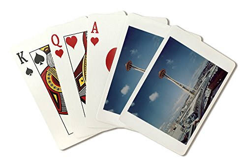 Seattle, WA - Space Needle and Monorail View (Playing Card Deck - 52 Card Poker Size with -