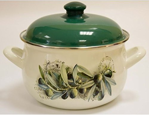 Europe Ware K15231/24 6.5 quart Casserole Pan with Decorative Design, Large, White/Green