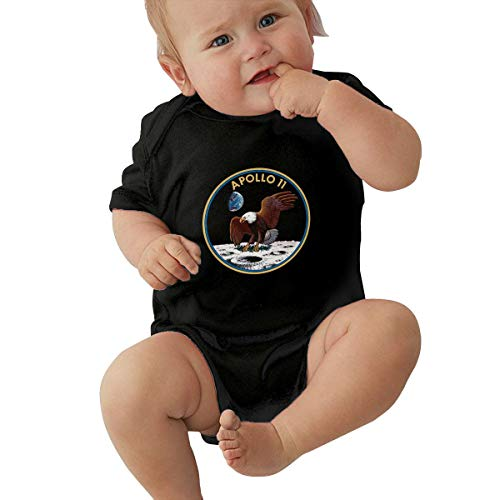 - Apollo 11 Mission Logo Short Sleeve Baby Onesie Rompers Bodysuit for Toddler Black
