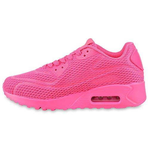 Stiefelparadies Trendige Unisex Laufschuhe Damen Herren Kinder Sportschuhe Metallic Glitzer Camouflage Sneaker Bunt Schnür Sport Turnschuhe Flandell Pink Neon