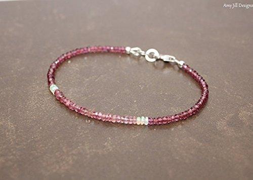 Opal Tourmaline Bracelet - Skinny Pink Tourmaline and Rhodolite Garnet Bracelet, Ethiopian Opal, Multi Color, Ombre Gemstone Jewelry 7