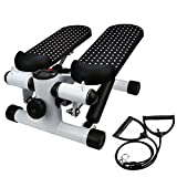 wuhei Heath Mini Stepper with Resistance Bands, Step Air Climber Stepper Twister Aerobic Fitness Exercise Machine for Indoor Workout Gym