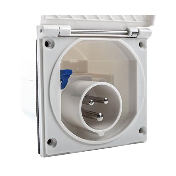 41JsJ9zraqL wamovo CEE Aussensteckdose weiß Spritzwasser geschützt 200-240V, 16A, 3 polig IP44