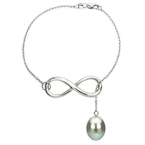 La Regis Jewelry Sterling Silver Infinity Bracelet with 8-8.5mm Dyed-Grey Long Shape Freshwater Cultured Pearl Friendship Bracelet 7.5