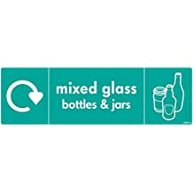WRAP Recycling Signs - Recycle Now Signs - Self Adhesive Vinyl Sticker (200 x 60mm, Mixed Glass Bottles & Jars)
