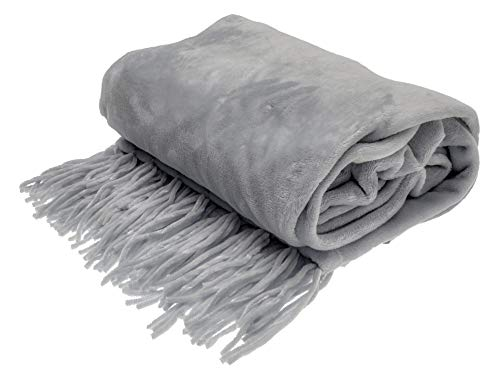 Style Basics Chenille Fringe Sofa Throw - Soft Warm Flannel Plush - for Couch and Sofa (Grey, Fringe Throw 50 X 70)