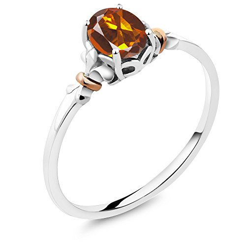 925 Sterling Silver and 10K Rose Gold Ring Oval Orange Red Madeira Citrine (0.70 cttw, Available in size 5,6,7,8,9)