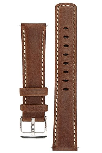signature-traveller-22-mm-coffee-with-white-watch-band-replacement-watch-strap-genuine-leather-silve