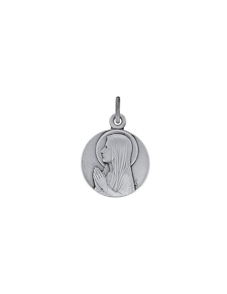 Médaille ronde Ave Maria en argent rhodié