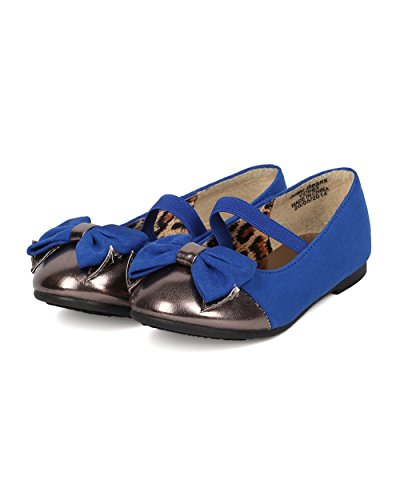 JELLY BEANS Saroya Gold Cap Round Toe Ballet Flat Bow Elastic Mary Jane (Toddler) AC85 - Royal Blue Faux Suede (Size: Toddler 6) by JELLY BEANS (Image #4)