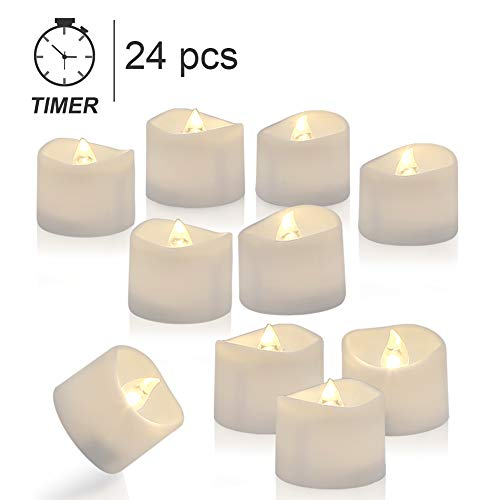 Homemory Tea Lights with Timer, Set of 24 Battery Operated Tea Candles, Warm White Flameless Flickering Electric Candles for Table Centerpieces, Mood Lighting and Home Decor (Round Battery Operated Candles)