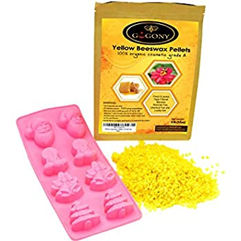 Organic Yellow Beeswax Pellets By GoGony 2lbs Cosmetic Grade, Natural & Pure Bees Wax Pastilles, Triple Filtered & Great For DIY Lip Balms, Skin Moisturizers, Candles, Lip Gloss, Lotions & More