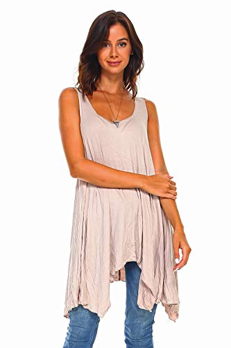 Simplicitie Women's Sleeveless Swing Flare Tunic Dress Tank Top - Regular and Plus Size - Made in USA (X-Large, Mocha)
