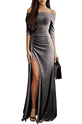 Z_Black Off The Shoulder Sequin Long Maxi Gown with Slit