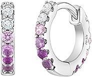 925 Sterling Silver Cute & Shiny Cubic Zirconia Huggie Hoop Earrings for G