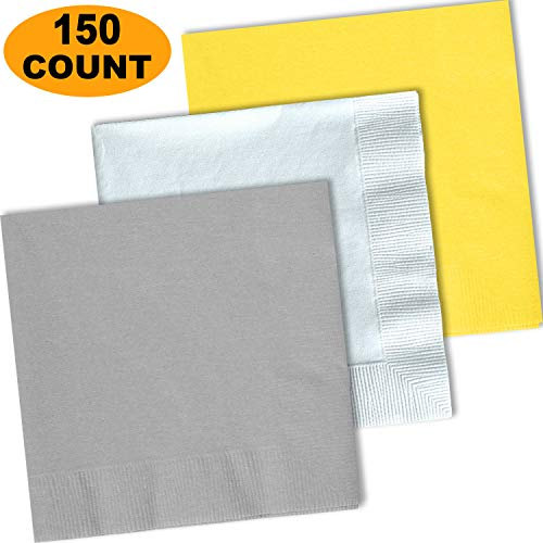 150 Lunch Napkins, Shimmering Silver, Bright White, Lemon Yellow - 50 Each Color. 2 Ply Paper Dinner Napkins. 6.5