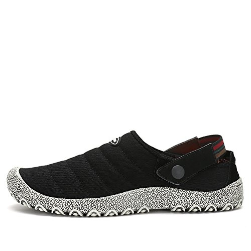 Leaproo Slippers For Men Canvas Slip On Shoes For Women Low Top Casual Sneakers Clog Mule Indoor Outdoor Summer Shoes Black40 by Leaproo