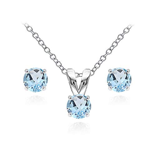 Gem Earring Set - Sterling Silver Blue Topaz 5mm Round Solitaire Pendant Necklace and Stud Earrings Set for Girls