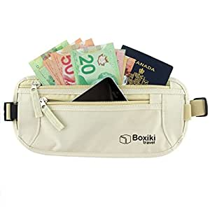 RFID Blocking Money Belt. Safe Waist Bag, Secure Belt for Men and Women by Boxiki Travel. Fits Passport, Wallet, Phone and Personal Items. Running Belt, Fanny and Waist Pack (Beige)