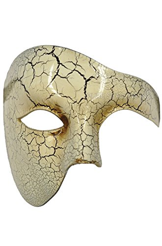 Plus Half Mask (Venetian Half Face Mask Masquerade Mardi Gras 'Phantom of the Opera' Vintage Design (White))