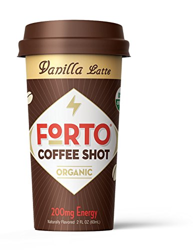 FORTO Coffee Shots – 200mg Caffeine, Vanilla Latte, High Caffeine Cold Brew Coffee, Bottled Fast Coffee Energy Boost, 6 Pack