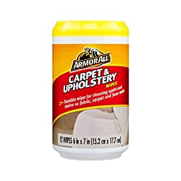 ArmorAll Carpet & Upholstery Cleaning Wipes for Fabric, Carpet & Floor Mats, 12 Wipes