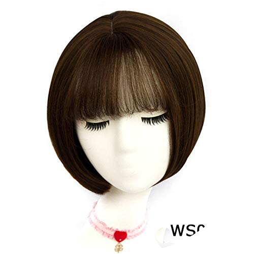 Get-in 43 Colors Synthetic Short Wavy Wigs With Bangs For Womens Blonde Black Brown Natural Hair Full Wigs Hairstyles,AS 02 F6,12inches ()
