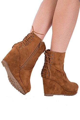 Lusty Chic Womens Lace up Suede Wedges Ankle Boots Black Camel Grey Ladies UK Sizes 3-8 Camel W9ZwxI3P
