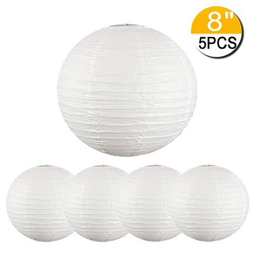 5 Packs White Hanging Paper Round Lanterns Chinese Ball Lanterns 12 inch Decorative for Birthday Bridal Wedding Baby Shower Parties Assorted Sizes (White, 12'')
