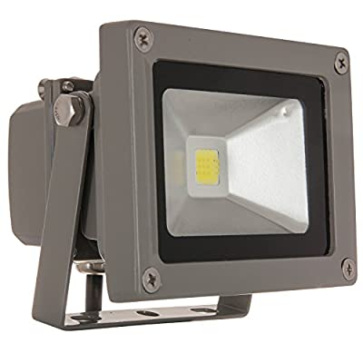 Sunlite LEDF/10W/W LED Security Floodlight HPS HID Replacement Wall Mounted Fixture Outdoor, White 5000K Gray Finish