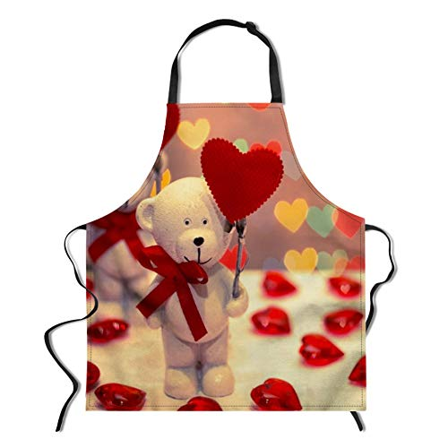 (WHEREISART Novelty Customized Apron, Lovely Bear and Heart-Shaped Balloon Pattern Apron Red Unisex Adjustable Kitchen Bib Apron Cute Apron for Cooking Grill Parties)