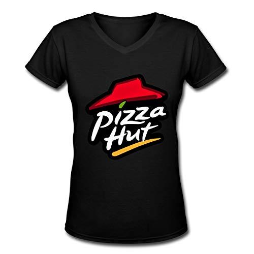 Women's Retro Pizza Hut Tee T Shirt Short Sleeve V/O Neck Cotton T-Shirt Sports Tops Vintage Tshirt Youth Girls ()