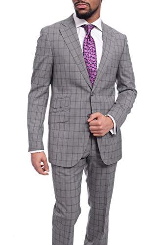 (Napoli Slim Fit Gray & Blue Windowpane Plaid Half Canvassed Super 150s Wool Suit)