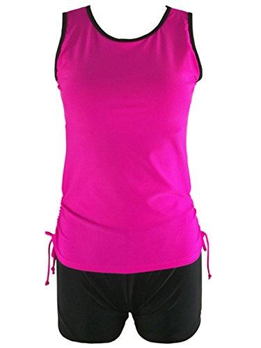 Strap Tank Swimsuit (Zando Sporty Printing Tankini With Boyshort Two Piece Retro Swimsuit Beachwear Tank Top Bathing Suit For Women Teen A Rose Red XL (US 10-12))