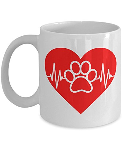 Pawprint Heartbeat Mug - Pet Lover 11oz and Big 15oz Ceramic Cup for Coffee Tea Hot Chocolate Soup - 11 oz (Paw Prints Ceramic Bowl)