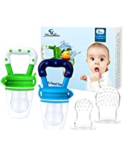 Baby Fresh Food Feeder, Tinabless 2Pcs Silicone Baby Teethers Toy for Toddlers&Kids&Infant, Baby Teething Food Fruit Pacifier, Bonus Includes 3 Sizes Silicone Pouches