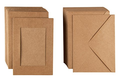 Photo Insert Note Cards - 48-Pack Paper Picture Frames Cards and Envelopes, Kraft Paper Photo Mats, Perfect for Inserting and Sending Memorable Documents, Kraft, Holds 4 x 6 Inches Inserts ()